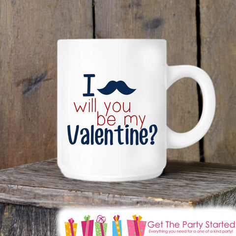 Valentines Coffee Mug, Will You Be My Valentine Ceramic Mug, Humorous Mustache Mug, Funny Coffee Cup Gift, Gift for Her or Him, Coffee Lover - Get The Party Started
