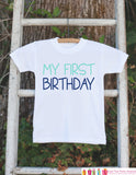 Boys My First Birthday Outfit - Boy 1st Birthday Onepiece For Boy's 1st Birthday Party - Boy First Birthday Shirt - Blue 1st Birthday Outfit