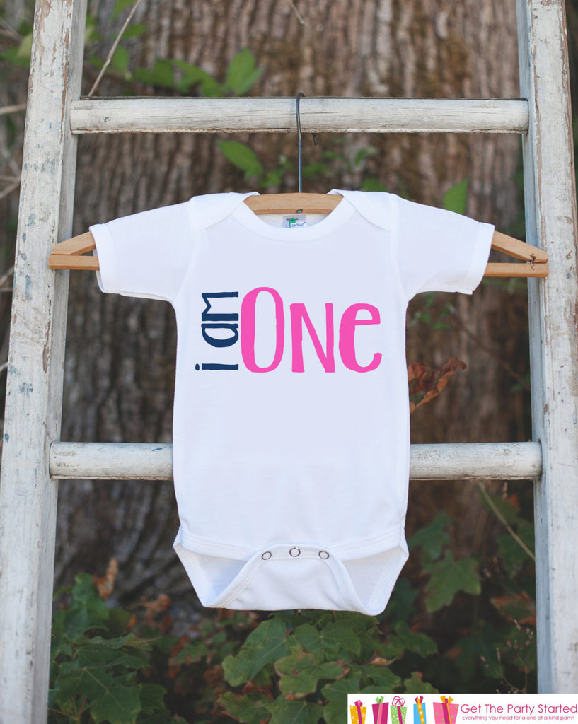 Girls First Birthday Outfit - I am One 1st Birthday Onepiece For Girls 1st Birthday Party - Girl First Birthday Shirt - Pink Birthday Outfit