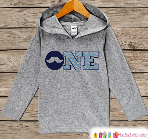 Boys First Birthday Shirt - Kids Hoodie - Mustache ONE Pullover - 1st Birthday Shirt - Boys Hoodie - First Birthday Shirt - Boy Birthday - Get The Party Started