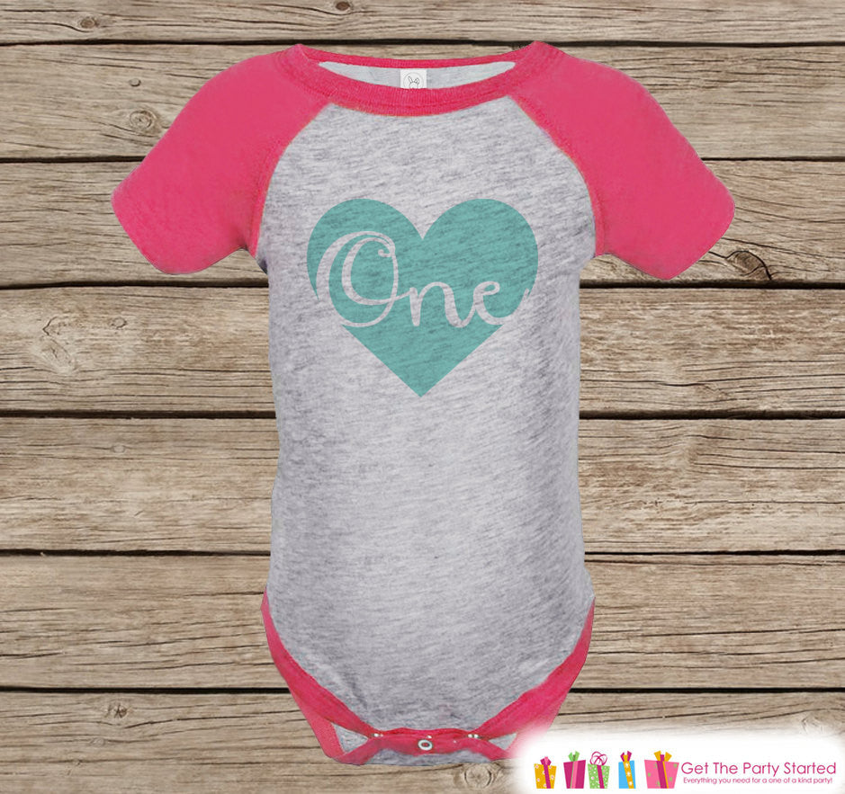 First Birthday Outfit - One Pink Raglan Shirt - 1st Birthday Onepiece For Girl Birthday Party Tee - Girls Birthday Shirt - Teal Heart Script - Get The Party Started