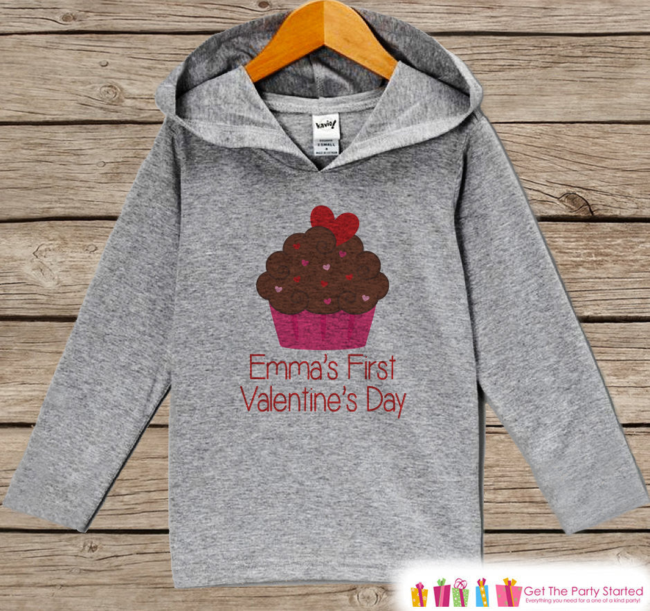 Girl Valentine's Hoodie - Cupcake Valentine Pullover - Girls Valentine's Day Outfit - Grey Toddler Hoodie - Girl Hoodie - Baby Kids Pullover - Get The Party Started