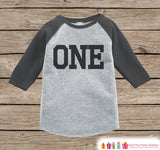 Boys Birthday Outfit - One Birthday Onepiece or Tshirt - Boy Birthday Shirt - Black & Grey Raglan Birthday Shirt - Sporty Boys Raglan Top