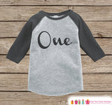 One First Birthday Raglan Shirt - Baby Boy Birthday Onepiece or Tshirt - Boys 1st Birthday Outfit - Black & Grey Raglan Birthday Shirt Tee