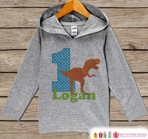 Birthday Outfit - Kids Hoodie - First Birthday Pullover - 1st Birthday Shirt - Boys Hoodie - First Birthday Top - Dinosaur Birthday Hoodie - Get The Party Started