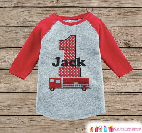 Firetruck Birthday Shirt - Boys Birthday Onepiece or Tshirt - Boy Birthday Outfit - Red Raglan Birthday Shirt - Boys First Birthday Raglan