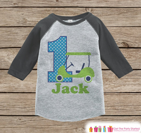 First Birthday Golf Outfit - Boys 1st Birthday Onepiece or T-shirt - Golf Grey Raglan Shirt - Boys 1st Birthday - Golf Birthday Raglan Tee