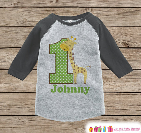 First Birthday Jungle Outfit - Boys 1st Birthday Onepiece or T-shirt - Giraffe Grey Raglan Shirt - Jungle 1st Birthday - Birthday Raglan Tee