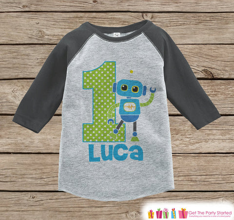First Birthday Robot Outfit - Boys 1st Birthday Onepiece or T-shirt - Robot Grey Raglan Shirt - 1st Birthday - Robot Birthday Raglan Tee