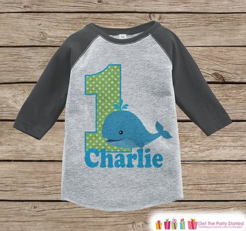 First Birthday Whale Outfit - Boys 1st Birthday Onepiece or T-shirt - Whale Grey Raglan Shirt - 1st Birthday - Ocean Birthday Raglan Tee