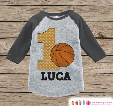 First Birthday Basketball Outfit - Boys 1st Birthday Onepiece or T-shirt - Basketball Grey Raglan Shirt - 1st Birthday - Birthday Raglan Tee