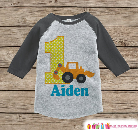 First Birthday Construction Outfit - Boys 1st Birthday Onepiece or T-shirt - Construction Truck Grey Raglan Shirt - Boys Birthday Raglan Tee