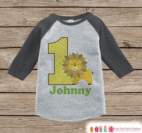 First Birthday Jungle Outfit - Boys 1st Birthday Onepiece or T-shirt - Lion Grey Raglan Shirt - Jungle 1st Birthday - Birthday Raglan Tee