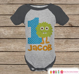 First Birthday Monster Outfit - Boys 1st Birthday Onepiece or T-shirt - Green Monster Grey Raglan Shirt - 1st Birthday - Birthday Raglan Tee