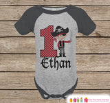 First Birthday Pirate Outfit - Boys 1st Birthday Onepiece or T-shirt - Pirate Grey Raglan Shirt - 1st Birthday - Pirate Birthday Raglan Tee