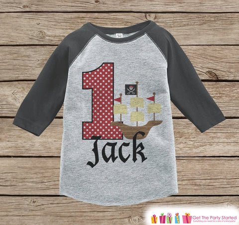 First Birthday Pirate Ship Outfit - Boys 1st Birthday Onepiece or T-shirt - Pirate Grey Raglan Shirt - 1st Birthday - Birthday Raglan Tee