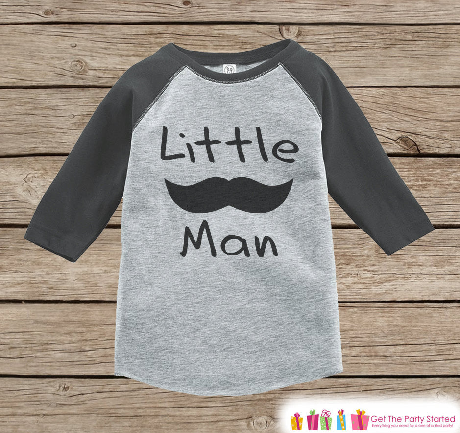 Boys Novelty Little Man Outfit - Baby Boys Onepiece or T-shirt - Black Mustache Grey Raglan Shirt - Kids Raglan Tee - Infant, Toddler Outfit - Get The Party Started