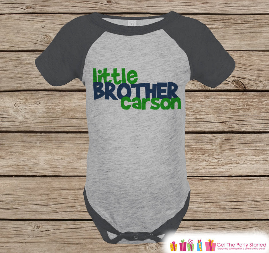 Little Brother Outfit - Little Brother Grey Raglan Shirt - Baby Boy's Onepiece or Tshirt - Raglan Tee for Baby Boy - Infant, Toddler Top
