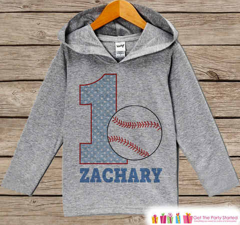 Baseball Birthday Outfit - Kids Hoodie - First Birthday Pullover - 1st Birthday Shirt - Boy Hoodie - First Birthday Top - Baseball Hoodie