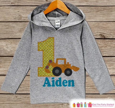 Construction Birthday Outfit - Kids Hoodie - First Birthday Pullover - 1st Birthday Shirt - Boy Hoodie - First Birthday Top - Construction