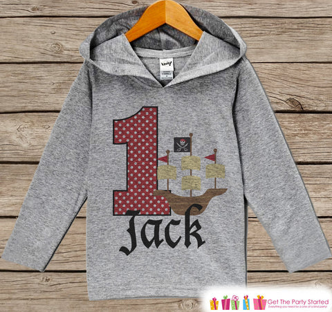 Pirate Birthday Outfit - Kid Hoodie - First Birthday Pullover - 1st Birthday Shirt - Boy Hoodie - First Birthday Top - Pirate Ship Hoodie - Get The Party Started