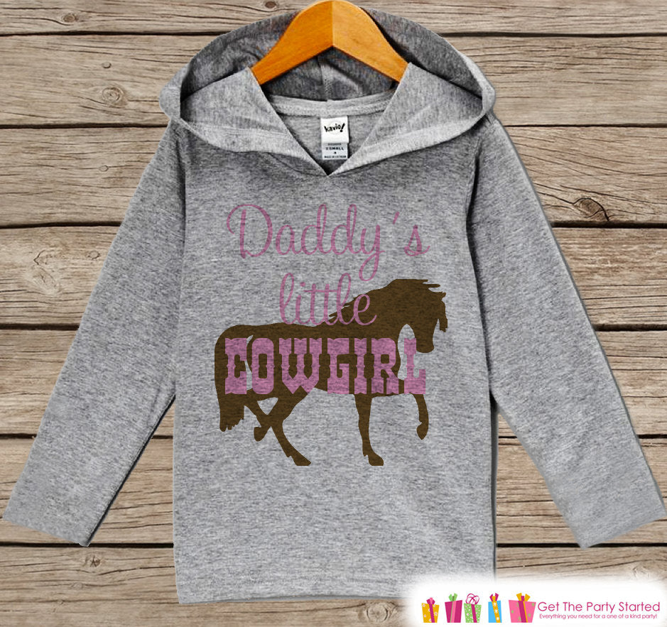 Baby Girls Hoodie - Daddy's Little Cowgirl Outfit - Grey Toddler Kids Hoodie - Girl's Hoodie - Cowgirl Shirt Hoodie - Father's Day Gift Idea
