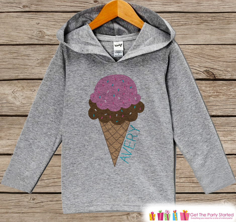 Kids Hoodie - Baby Girls Ice Cream Outfit - Grey Toddler Hoodie - Girl Hoodie - Girls Shirt - Ice Cream Cone Hoodie - Novelty Kids Pullover