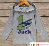 Airplane Birthday Outfit - Kids Hoodie - First Birthday Pullover - 1st Birthday Shirt - Boy Hoodie - First Birthday Top - Boy Biplane Hoodie