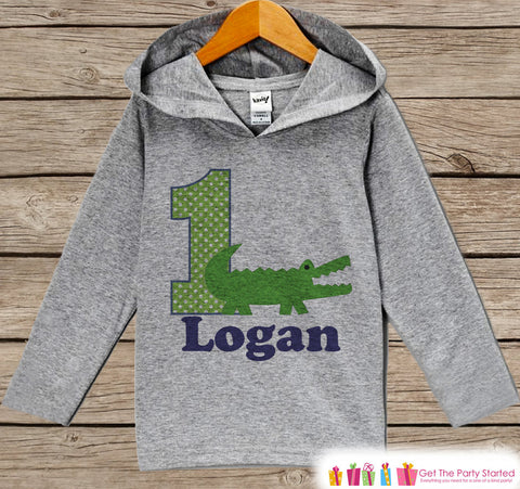 Alligator Birthday Outfit - Kids Hoodie - First Birthday Pullover - 1st Birthday Shirt - Boy Hoodie - First Birthday Top - Crocodile Hoodie