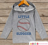 Kids Hoodie - Baseball Pullover - Little Slugger Outfit - Father's Day Gift Idea - Grey Toddler Hoodie - Kids Hoodie - Sports Baseball Shirt