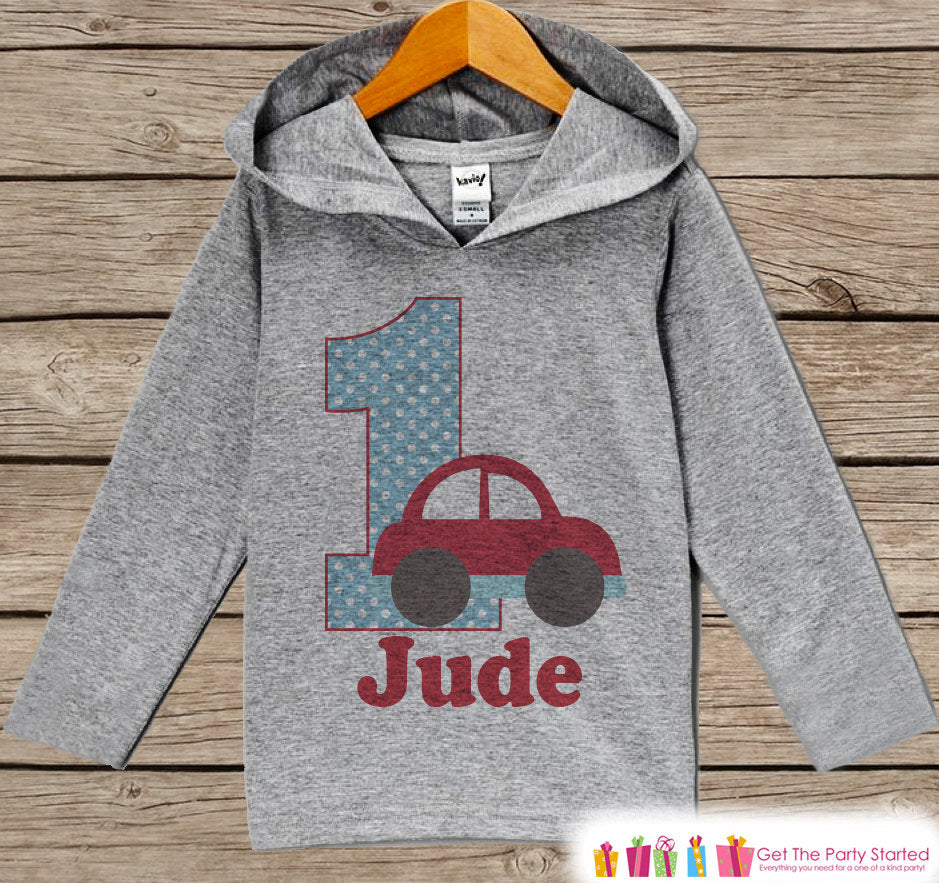 Cars Birthday Outfit - Kid Hoodie - First Birthday Pullover - 1st Birthday Shirt - Boy Hoodie - First Birthday Top - Transportation Hoodie