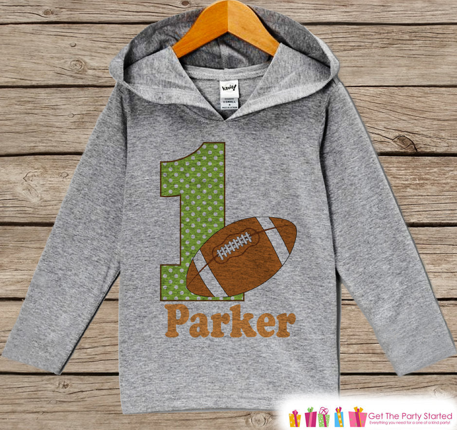 Football Birthday Outfit - Kid Hoodie - First Birthday Pullover - 1st Birthday Shirt - Boy Hoodie - First Birthday Top - Boy Football Hoodie