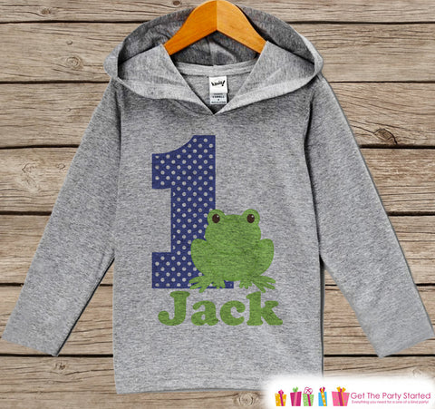 Frog Birthday Outfit - Kid Hoodie - First Birthday Pullover - 1st Birthday Shirt - Boy Hoodie - First Birthday Top - Boy Frogs Hoodie
