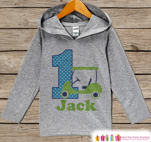 Golf Birthday Outfit - Kid Hoodie - First Birthday Pullover - 1st Birthday Shirt - Boy Hoodie - First Birthday Top - Boy Preppy Golf Hoodie