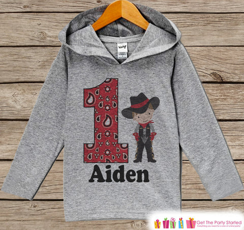 Cowboy Birthday Outfit - Kid Hoodie - First Birthday Pullover - 1st Birthday Shirt - Boy Hoodie - First Birthday Top - Boys Western Hoodie