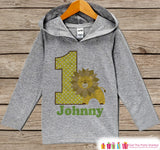Jungle Birthday Outfit - Kid Hoodie - First Birthday Pullover - 1st Birthday Shirt - Boy Hoodie Zoo - First Birthday Top - Boys Lion Hoodie