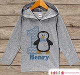 Penguin Birthday Outfit - Kid Hoodie - First Birthday Pullover - 1st Birthday Shirt - Boy Hoodie - First Birthday Top - Winter ONEderland