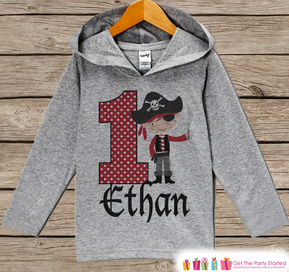Pirate Birthday Outfit - Kid Hoodie - First Birthday Pullover - 1st Birthday Shirt - Boy Hoodie - First Birthday Top - Boys Pirate Hoodie