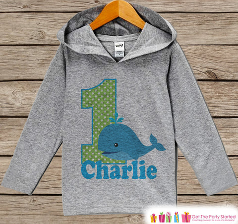Whale Birthday Outfit - Kid Hoodie - First Birthday Pullover - 1st Birthday Shirt - Boy Hoodie - Kids First Birthday Top - Boys Ocean Hoodie - Get The Party Started