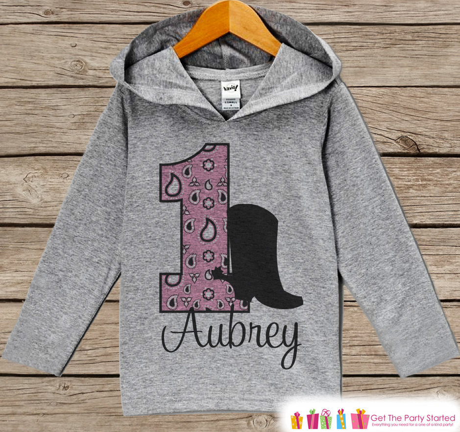 Cowgirl Birthday Outfit - Kids Hoodie - First Birthday Pullover - 1st Birthday Shirt - Girls Hoodie - First Birthday Top - Cowgirl Hoodie