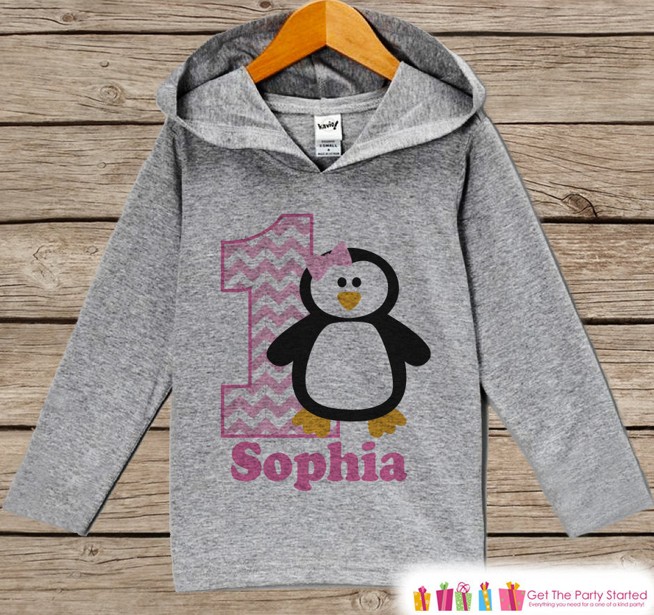 Pink Penguin Birthday Outfit - Kids Hoodie - First Birthday Pullover - 1st Birthday Shirt - Girls Hoodie - Birthday Top - Winter Onederland - Get The Party Started