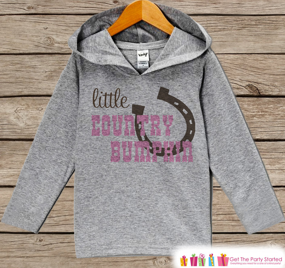 Baby Girls Hoodie - Country Bumpkin Outfit - Grey Toddler Kids Hoodie - Girl's Hoodie - Cowgirl Shirt - Horse Hoodie - Novelty Kids Pullover