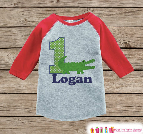 Boy's Birthday Outfit - Alligator Birthday Shirt - Onepiece or Tshirt - First Birthday Outfit - Red Raglan Birthday Shirt - 1st Birthday Top
