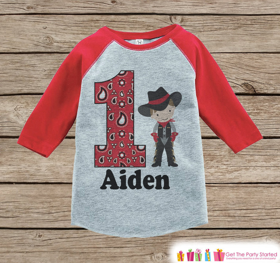 fc8d60807 Boy's Birthday Outfit - Cowboy Birthday Shirt - Onepiece or Tshirt - First  Birthday Outfit -