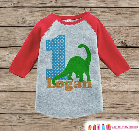 Boy's Birthday Outfit - Dinosaur Birthday Shirt - Onepiece or Tshirt - First Birthday Outfit - Red Raglan Birthday Shirt - 1st Birthday Top