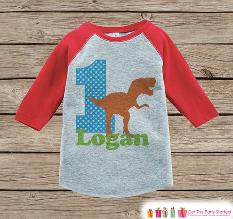 Boy's Birthday Outfit - Dinosaur Birthday Shirt - Onepiece or Tshirt - First Birthday Outfit - Red Raglan Birthday Shirt - Trex Birthday Top