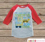 Last Day of Kindergarten Outfit - Personalized Kindergarten Stats Shirt - Kids Stats Red Raglan - Boy or Girl - My Last Day of School Outfit - Get The Party Started