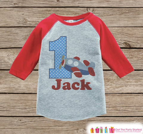 Boy's Birthday Outfit - Airplane Birthday Shirt - Onepiece or Tshirt - First Birthday Outfit - Red Raglan Birthday Shirt - 1st Birthday Top