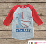 Boy's Birthday Outfit - Baseball Birthday Shirt - Onepiece or Tshirt - First Birthday Outfit - Red Raglan Birthday Shirt - 1st Birthday Top - Get The Party Started