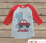 Boy's Birthday Outfit - Cars Birthday Shirt - Onepiece or Tshirt - Car First Birthday Outfit - Red Raglan Birthday Shirt - 1st Birthday Top